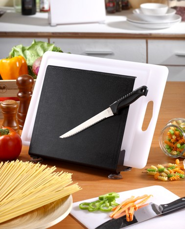 Ultra convenience cutting board holder & double magnetic cutlery storage